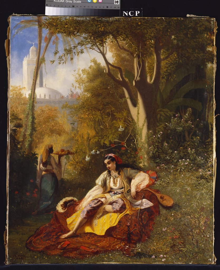 An Algerian Woman and her Servant in a Garden. Charles Theodore Frere (1814-1888). Dated 1844, oil on canvas, 65.4 x 54.6cm. : Stock Photo