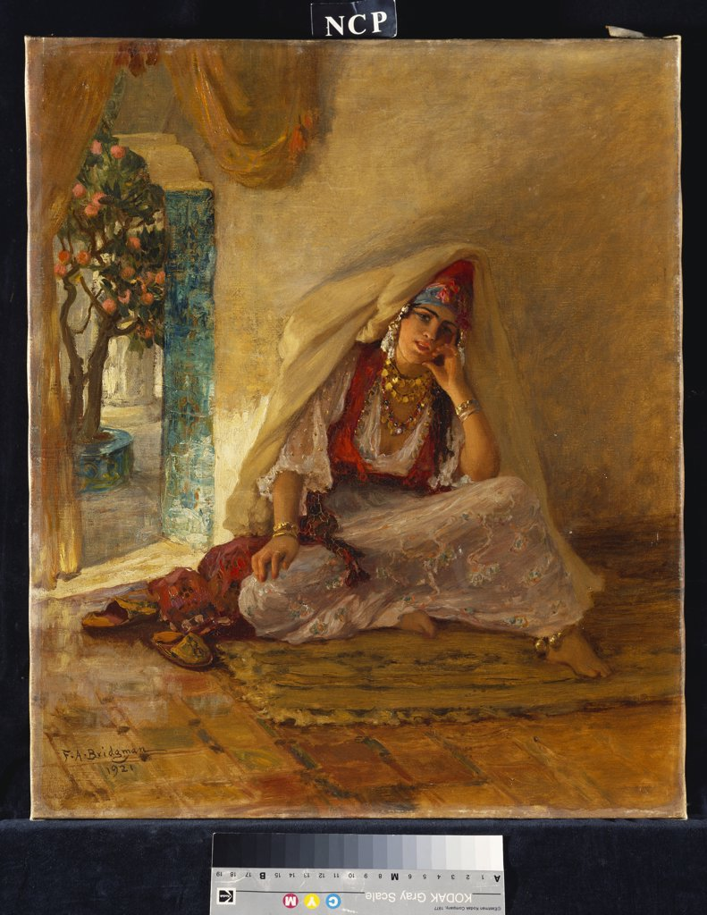 Stock Photo: 866-8419 On the Patio. Frederick Arthur Bridgman (1847-1928). Oil on canvas. Dated 1921. 55 x 46.4cm.