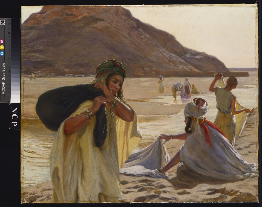 Washing Clothes in the Wadi. Jules Charles Clement Taupin (1863-1931). Oil on canvas, 46 x 55.2cm. : Stock Photo