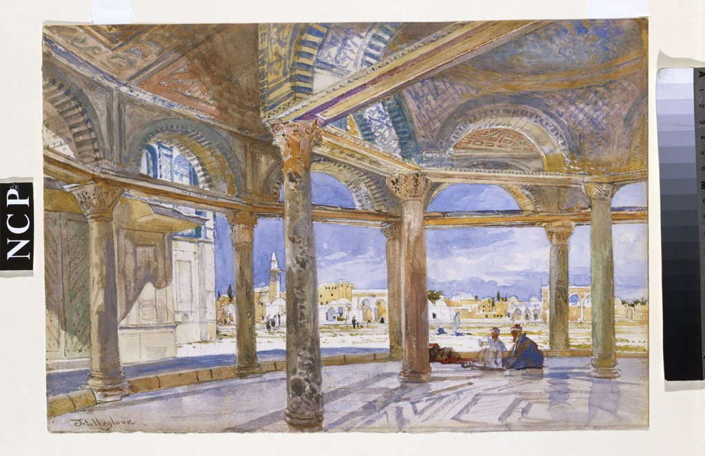 Stock Photo: 866-8443 Interior of the Dome of the Chain looking North, Jerusalem. John Fulleylove (1845-1908). Pencil and watercolour on paper, 25.7 x 37.8cm.