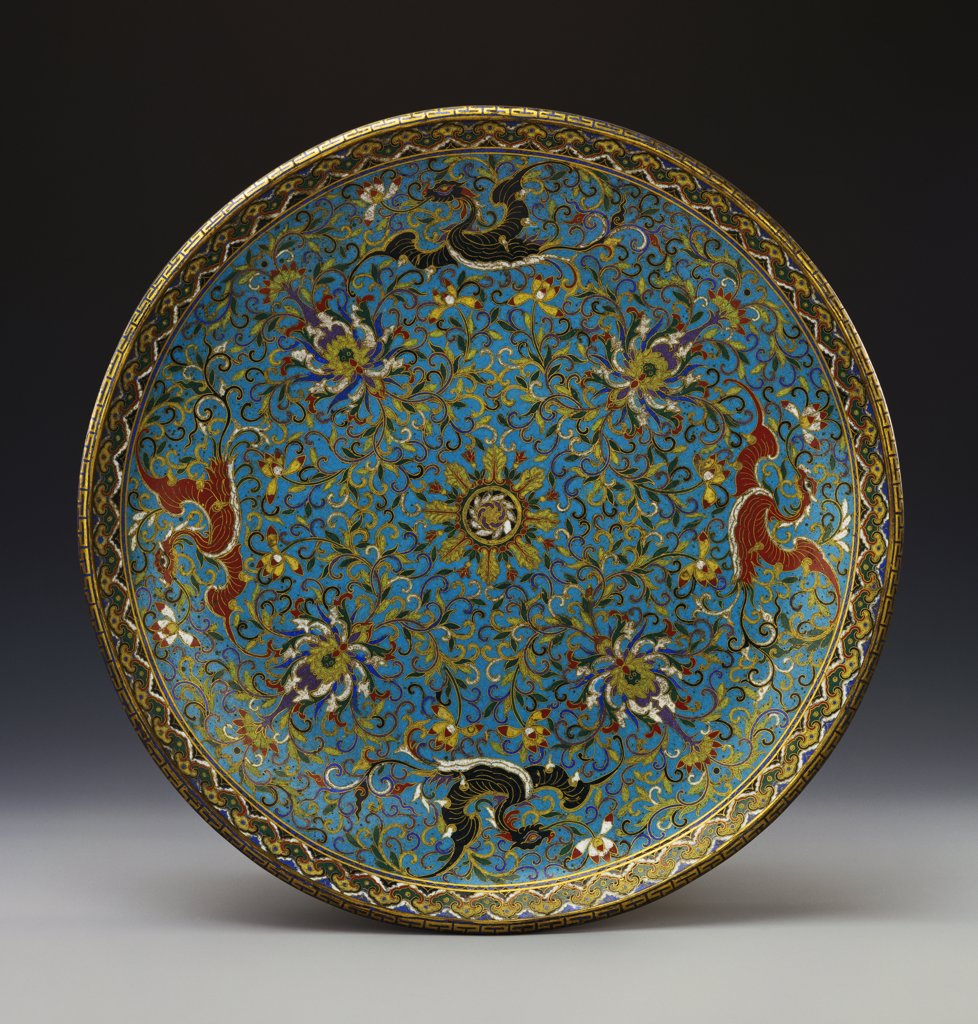 Stock Photo: 866-8521 A Large Cloisonne Enamel Dish. The Interior Decorated with Pairs of Red and Black Dragon-Headed Phoenix Divided by Lotus Blooms. Qianlong. 42cm diam.