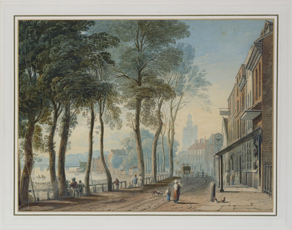 Cheyne Walk, Chelsea, London. John Varley (1778-1842). Pencil & Watercolour. Signed and dated 1816. 28.5 x 39.1cm. : Stock Photo