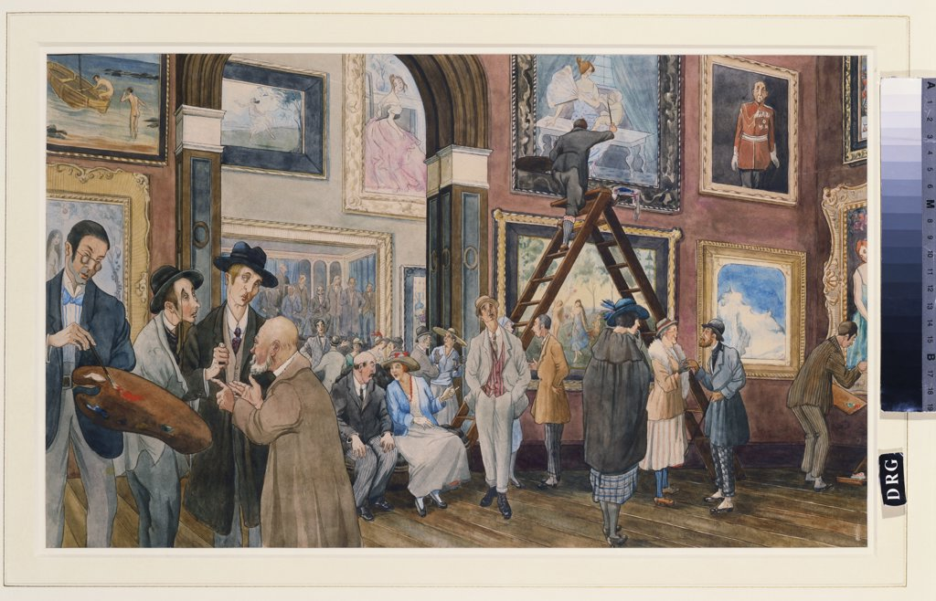 Finishing Day - A Satirical Drawing of the Royal Academy. Molly Campbell (fl 1915-1937). Pencil and watercolour. 289 x 476mm : Stock Photo