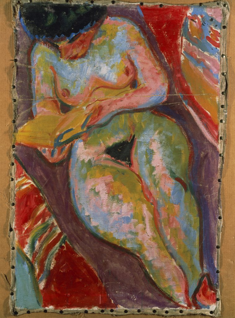 Female Nude (Reading); Weiblicher Akt (Lesend). Ernst Ludwig Kirchner (1880-1938). Oil on canvas. painted in 1909. 96.4 x 64.5cm. : Stock Photo