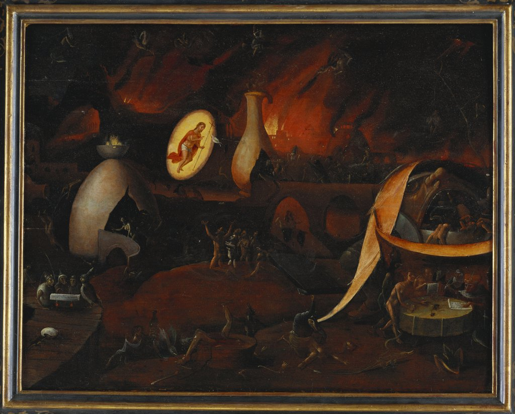 Christ's Descent into Limbo. Follower of Hieronymous Bosch (c.1450-1516). Oil on panel, 53.7 x 68.6cm. : Stock Photo