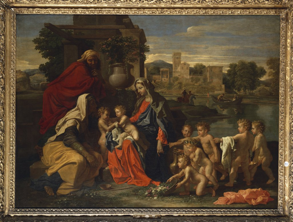 The Holy Family with the Infant Saint John the Baptist and Saint Elizabeth, and with Six Putti Carrying a Ewer and Basin, in a Classical    Landscape. Nicolas Poussin (1594-1665). Oil on canvas, 100 x 132cm. : Stock Photo