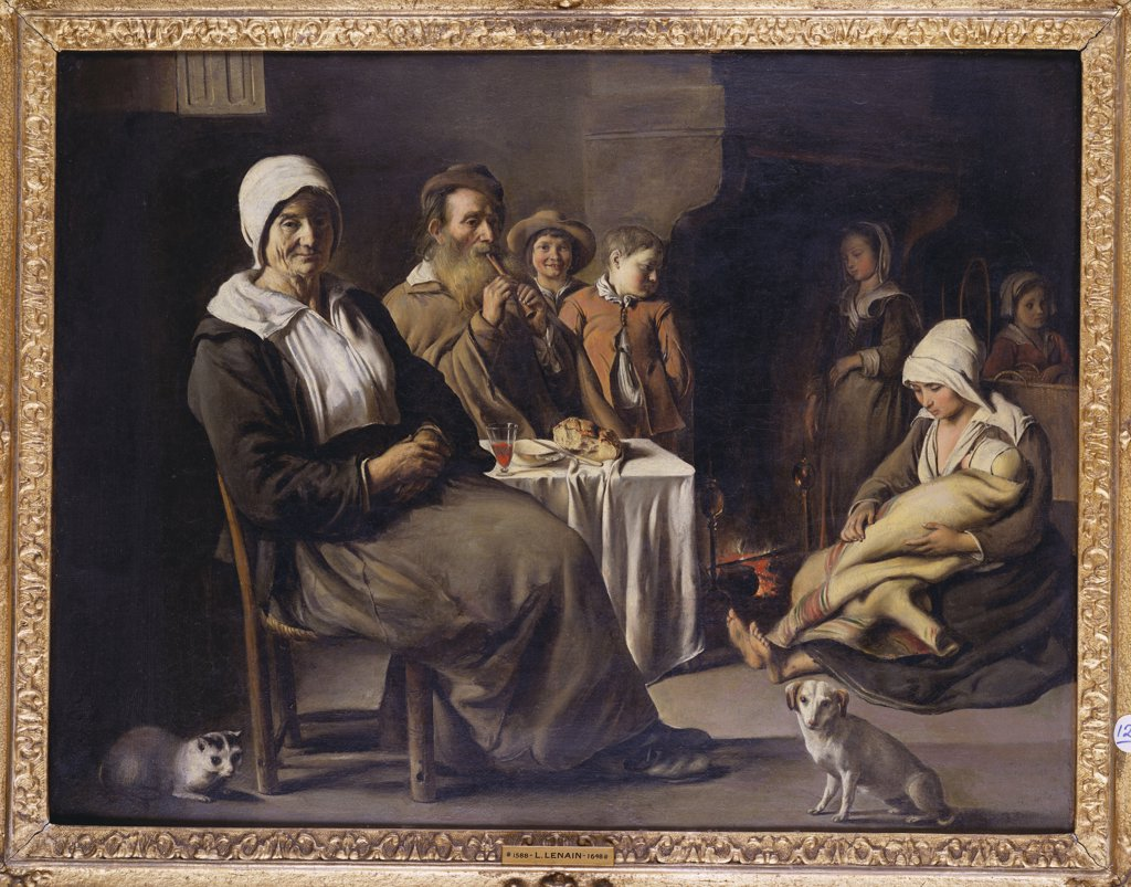 Stock Photo: 866-8583 A Peasant Family in an Interior, with an Old Woman Seated, an Old Man Playing a Pipe, a Young Mother and Children by a Hearth. The Brothers le Nain, 17th century. Oil on canvas, 53.5 x 71cm.