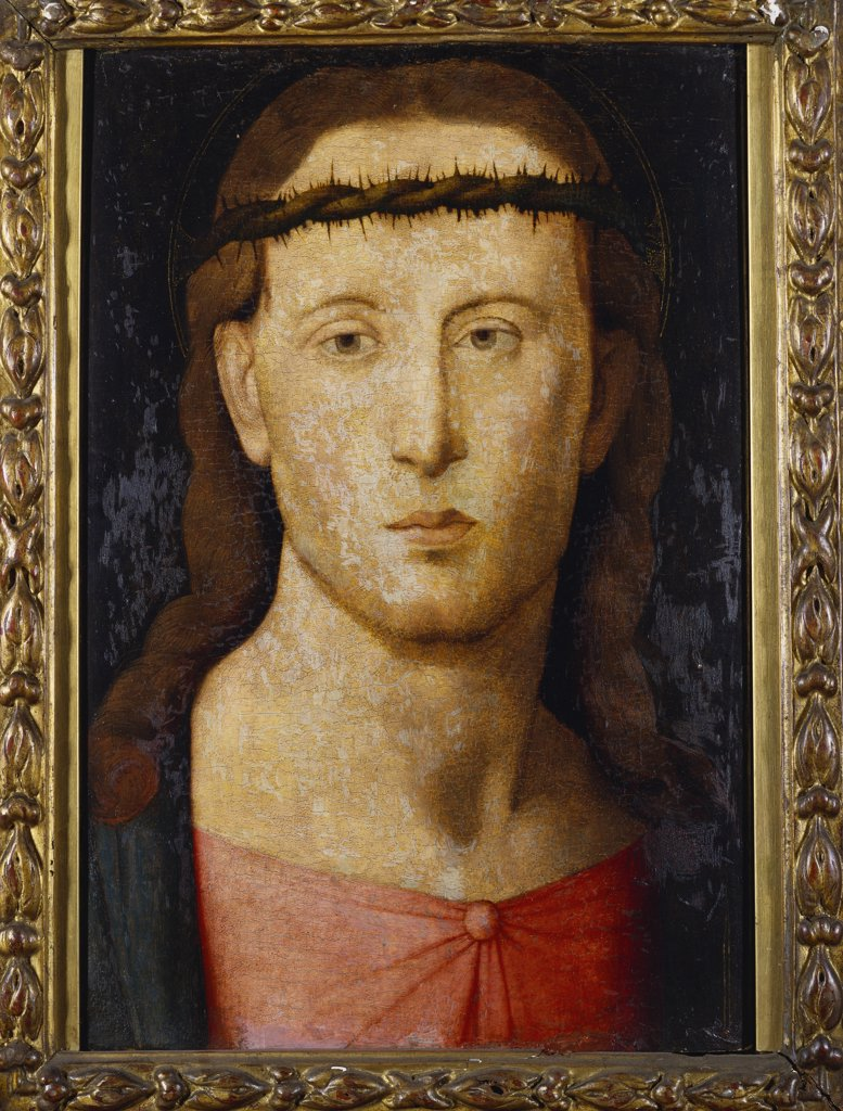 The Head of Christ. Circle of Jacopo del Sellaio (1441/2-1493). Oil on panel, 40.6 x 27.3cm. : Stock Photo