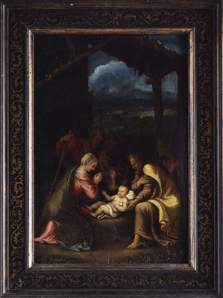 The Nativity. Giulio Pippi called Giulio Romano (1499-1546). Oil on panel, 38 x 26.5cm. : Stock Photo