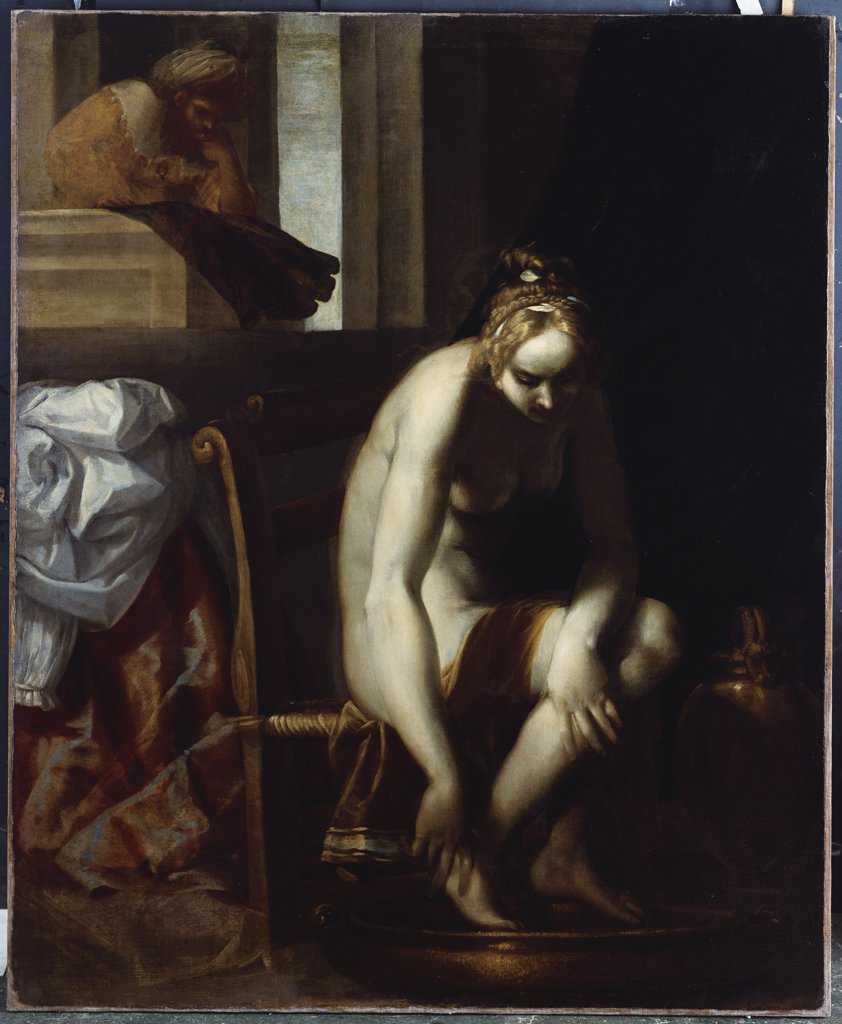 David and Bathsheba. Luca Cambiaso (1527-1585). Oil on canvas, 148 x 122cm. : Stock Photo