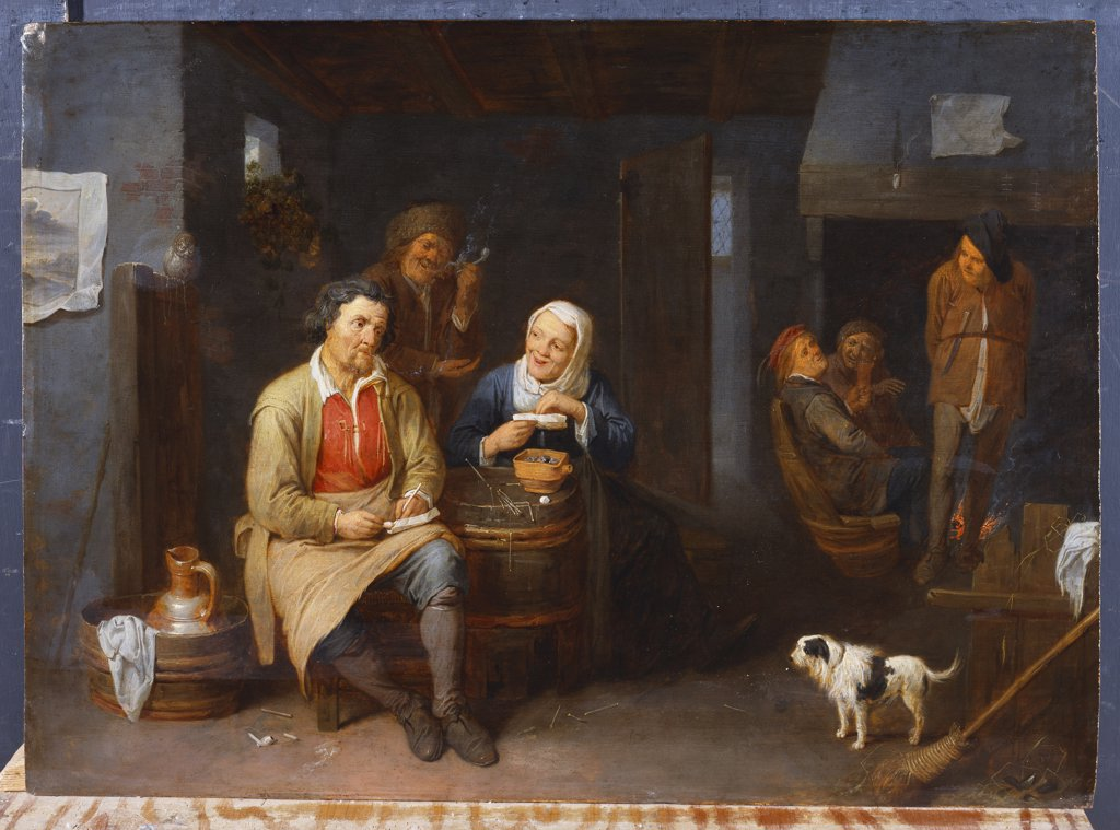Stock Photo: 866-8610 The Interior of an Inn with Peasants Smoking. David Ryckaert III (1612-1661). Dated 1647, oil on panel, 50 x 69cm.