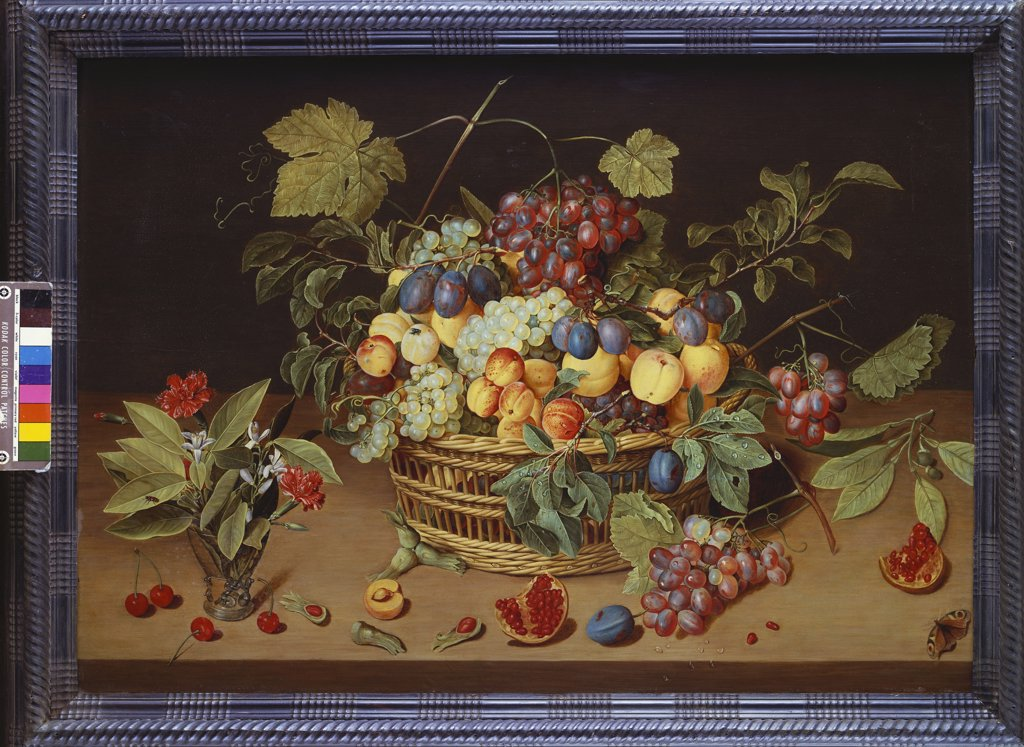Stock Photo: 866-8616 Plums, Peaches and Grapes in a Basket with Carnations and other Flowers in a Roemer, with Pomegranates, Hazelnuts, Cherries and a Butterfly on a Ledge. Jacob van Hulsdonck (1582-1647). Oil on panel, 61 x 85cm.