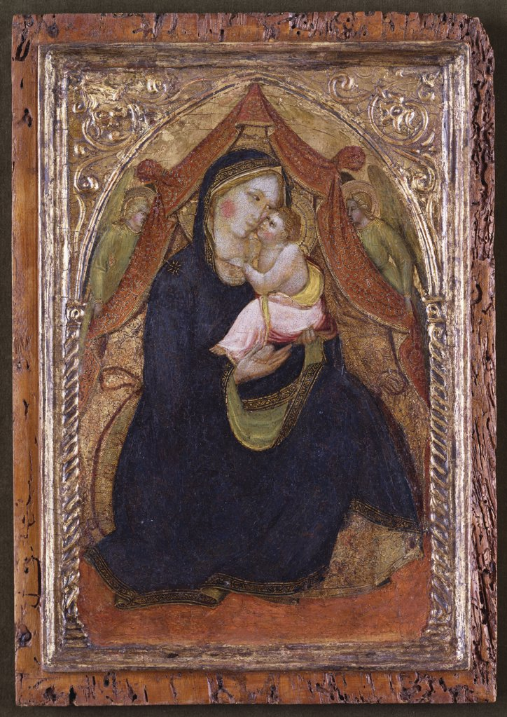 Stock Photo: 866-8617 The Madonna of Humility with Two Angels. Close follower of Agnolo Gaddi (c.1345-1396). On gold ground panel, 40 x 28cm.