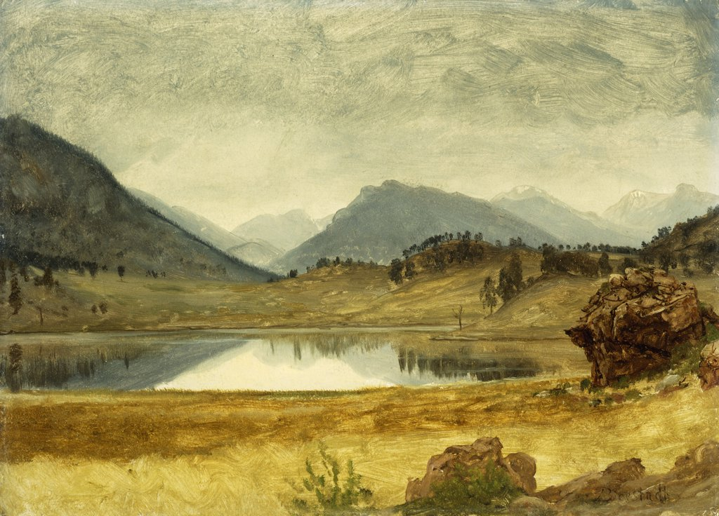 Stock Photo: 866-9097 Wind River Country. Albert Bierstadt (1830-1902). Oil and paper laid on board. 35 x 48.5cm