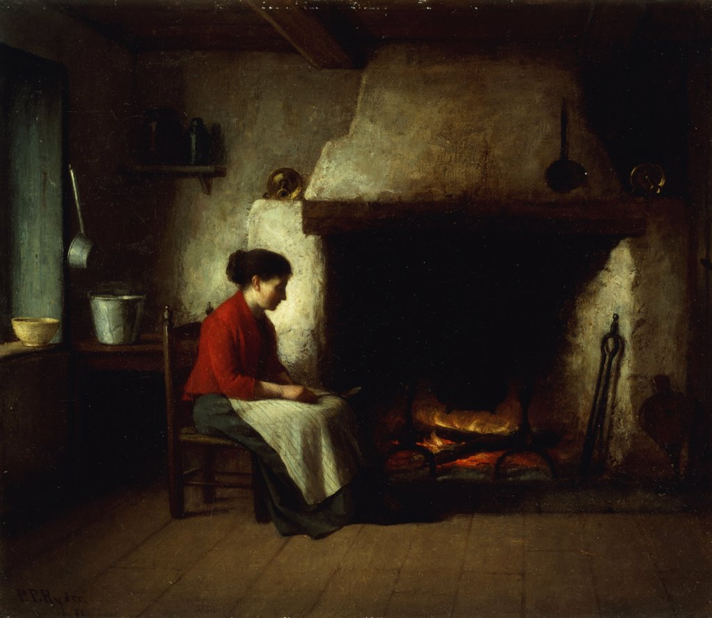 By the Hearth. Platt Powell Ryder (1821-1896). Oil on canvas. Signed and dated, 1881. 30.9 x 35.5cm : Stock Photo