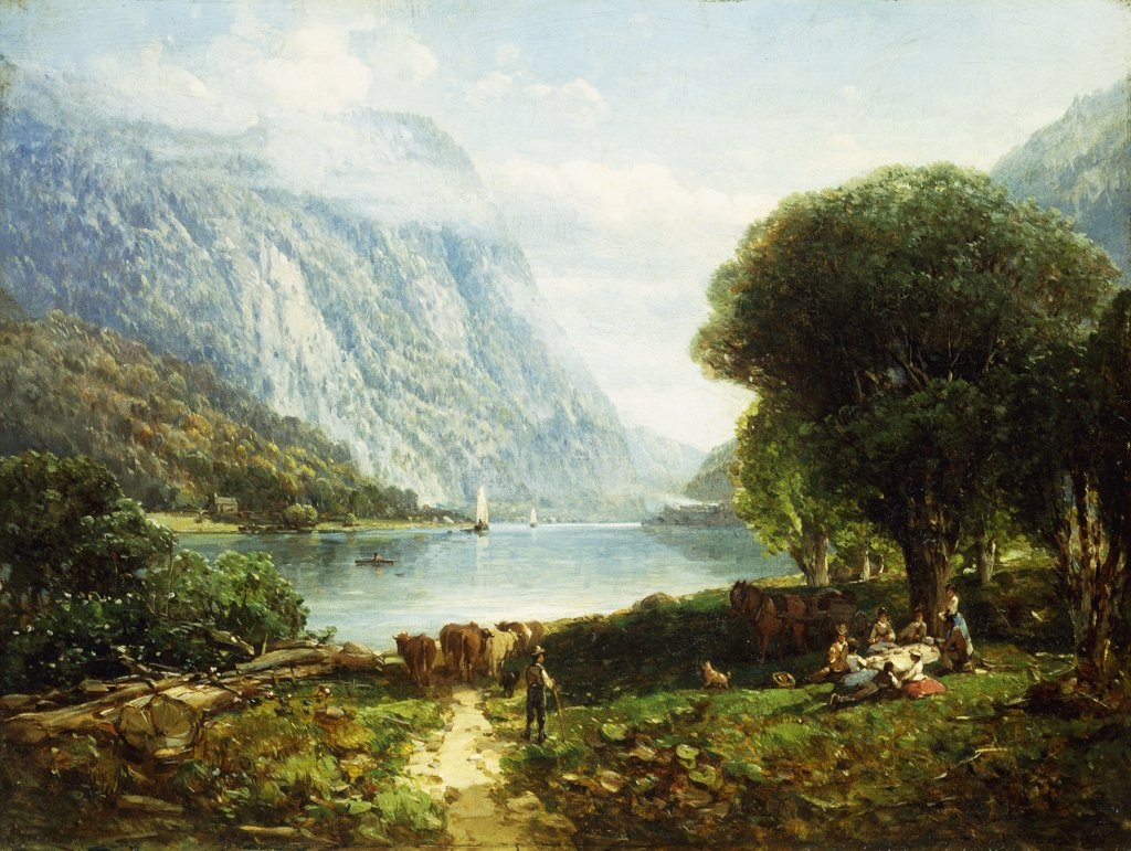 Stock Photo: 866-9100 The Delaware Water Gap. Andrew Melrose (1826-1901). Oil on canvas. 38.4 x 51cm
