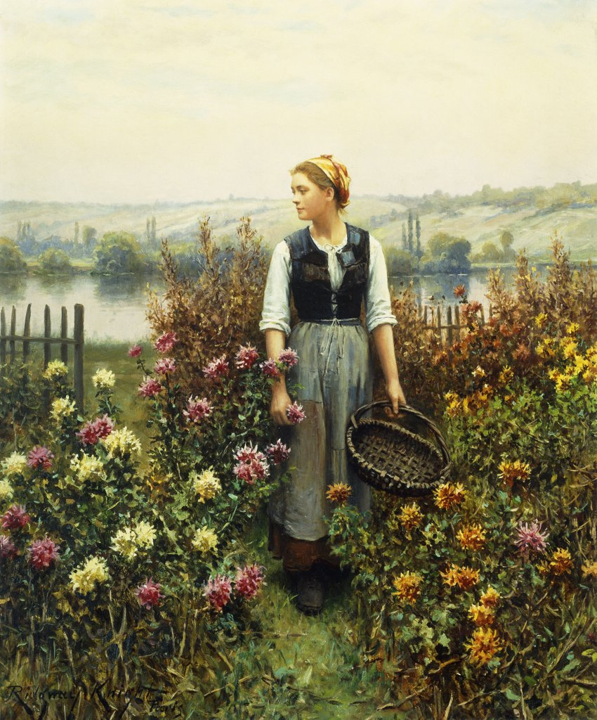 Stock Photo: 866-9112 Girl with a Basket in a Garden.  Daniel Ridgeway Knight (1839-1924).  Oil on canvas. 55.4 x 46cm