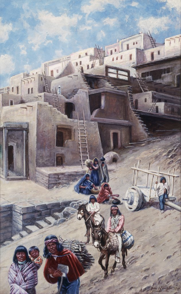 Stock Photo: 866-9136 Pueblo Village. John Hauser (1858-1913). Watercolour and gouache on board. Signed and dated 1900. 51.7 x 33.9cm