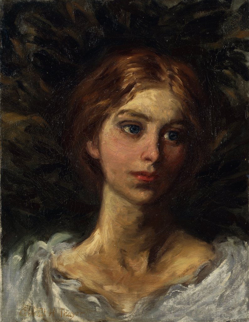 Portrait of a Girl. Abbott Handerson Thayer (1849-1921). Oil on canvas. 54 x 41.6cm : Stock Photo