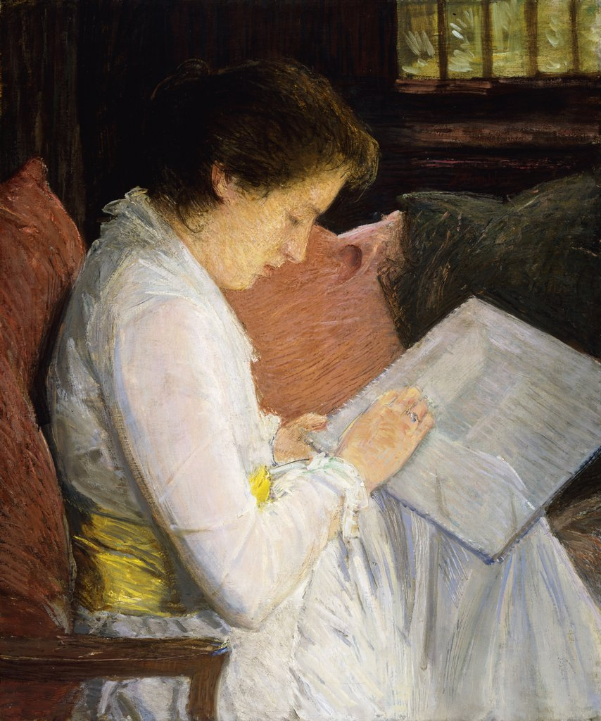 Stock Photo: 866-9147 The Lace Maker. Julian Alden Weir (1852-1919). Oil on canvas. Painted in 1915. 77.5 x 63.5cm
