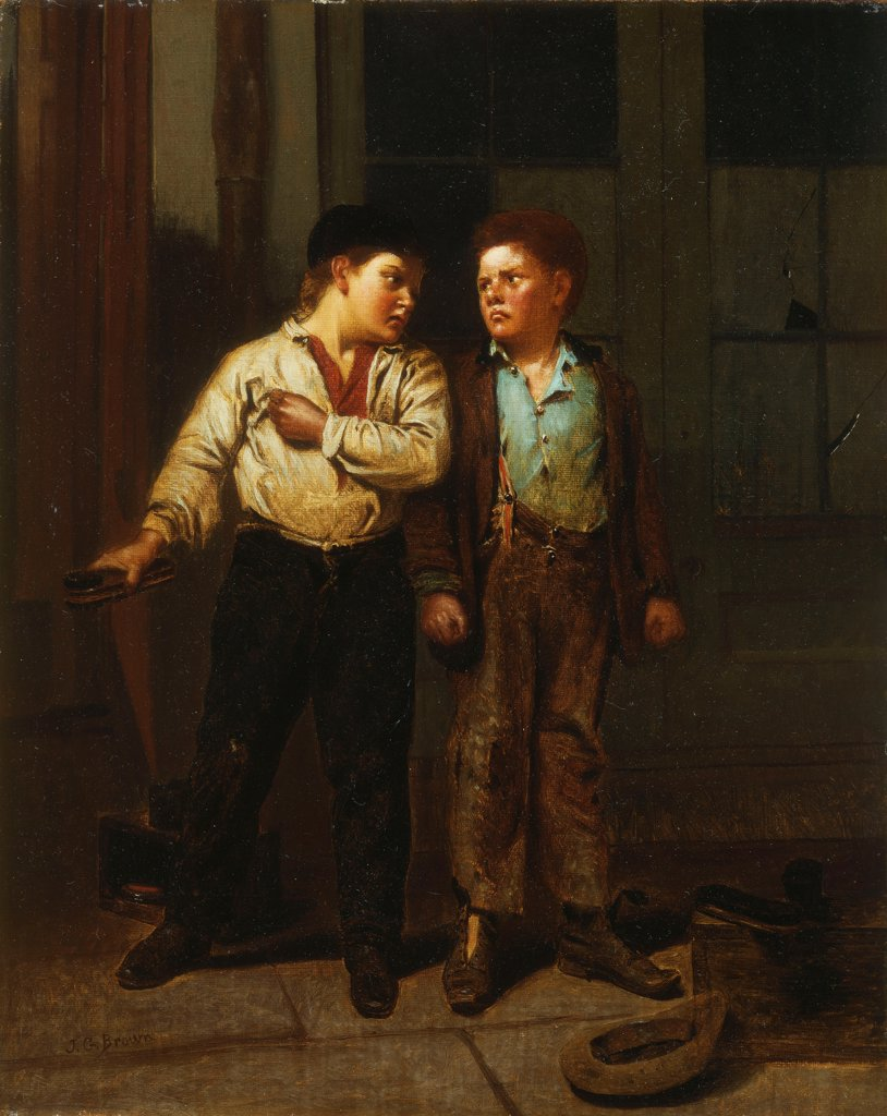 Stock Photo: 866-9164 A Dispute Over Territory. John George Brown (1831-1913). Oil on canvas. 39.1 x 30.4cm