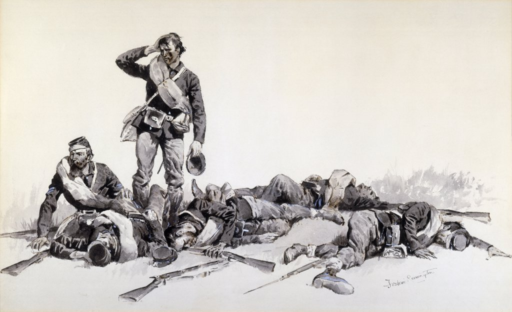 Stock Photo: 866-9168 After the Battle. Frederic Remington (1861-1909). Ink and wash on paper laid on board. 44.5 x 69.7cm