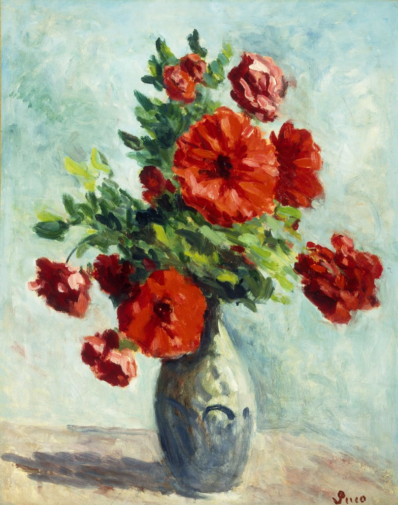 Stock Photo: 866-9177 Vase of Flowers; Vase de Fleurs. Maximilien Luce (1858-1941). Oil on paper laid down on canvas. Painted in 1925-30. 52.8 x 42cm