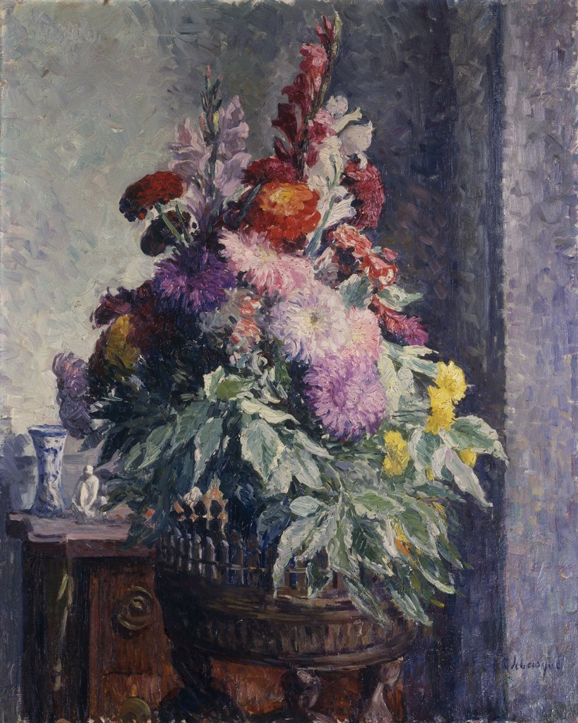 Interior with Bouquet of Flowers. Interieur au Bouquet de Fleurs. Henri Lebasque (1865-1937). Oil on canvas. 81 x 65cm : Stock Photo