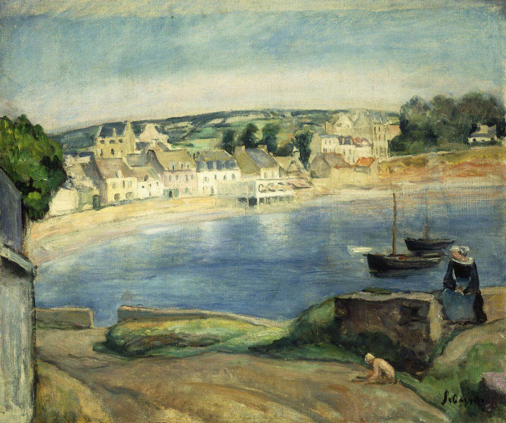 Stock Photo: 866-9192 Breton Landscape at Miget; Paysage de Bretagne a Miget. Henri Lebasque (1865-1937). Oil on canvas. 46 x 54.5cm