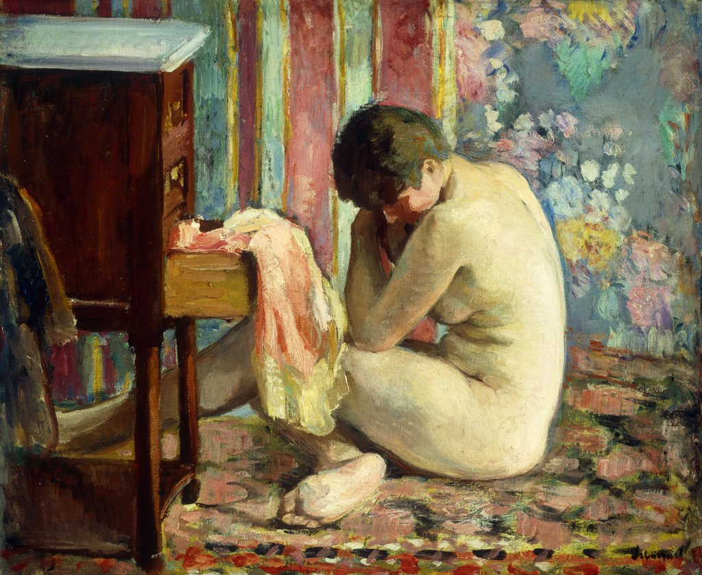 Nude with Pink Shirt; Nu a la Chemise Rose. Henri Lebasque (1865-1937). Oil on canvas, 1926.  50 x 61 cm : Stock Photo