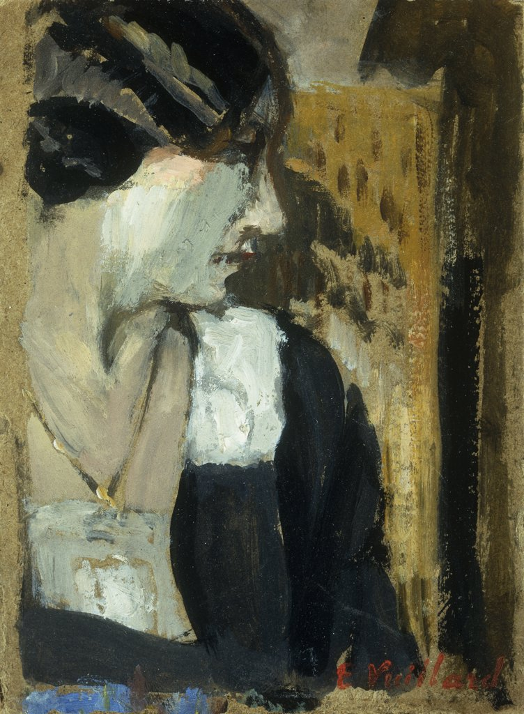 Profile of a Woman; Profil de Femme. Edouard Vuillard (1860-1940). Oil on board. 14 x 10.5cm : Stock Photo