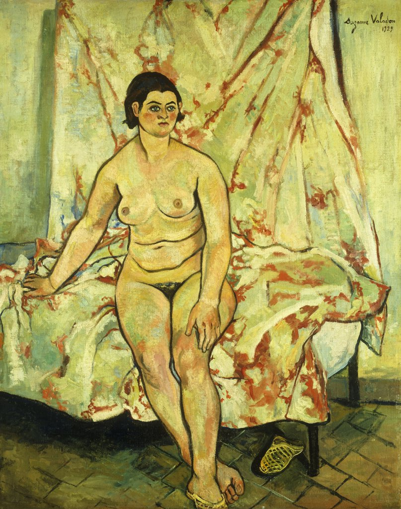 Stock Photo: 866-9224 Nude Sat on the Edge of a Bed; Nu Assis sur le Bord d'un Lit. Suzanne Valadon (1867-1938).Oil on canvas. Painted in 1929. 81.3 x 65.1cm