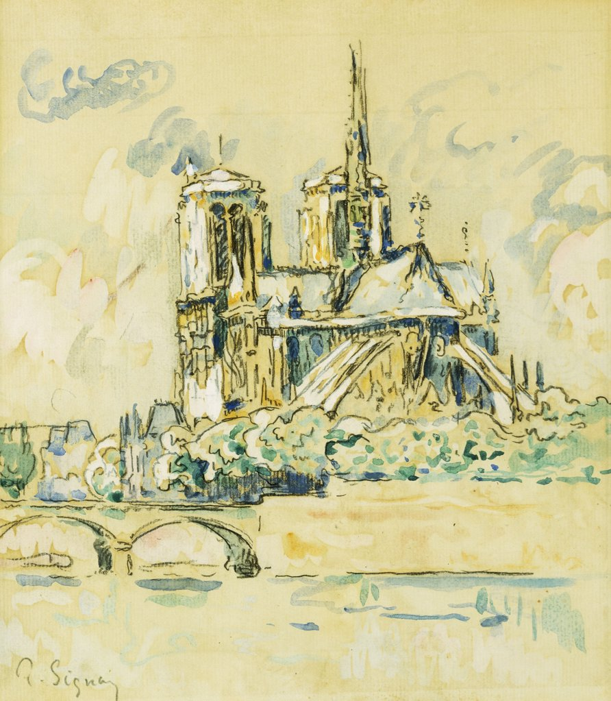 Stock Photo: 866-9229 Notre Dame. Paul Signac (1863-1935). Watercolour and gouache over black chalk on paper. 31.1 x 26.7cm