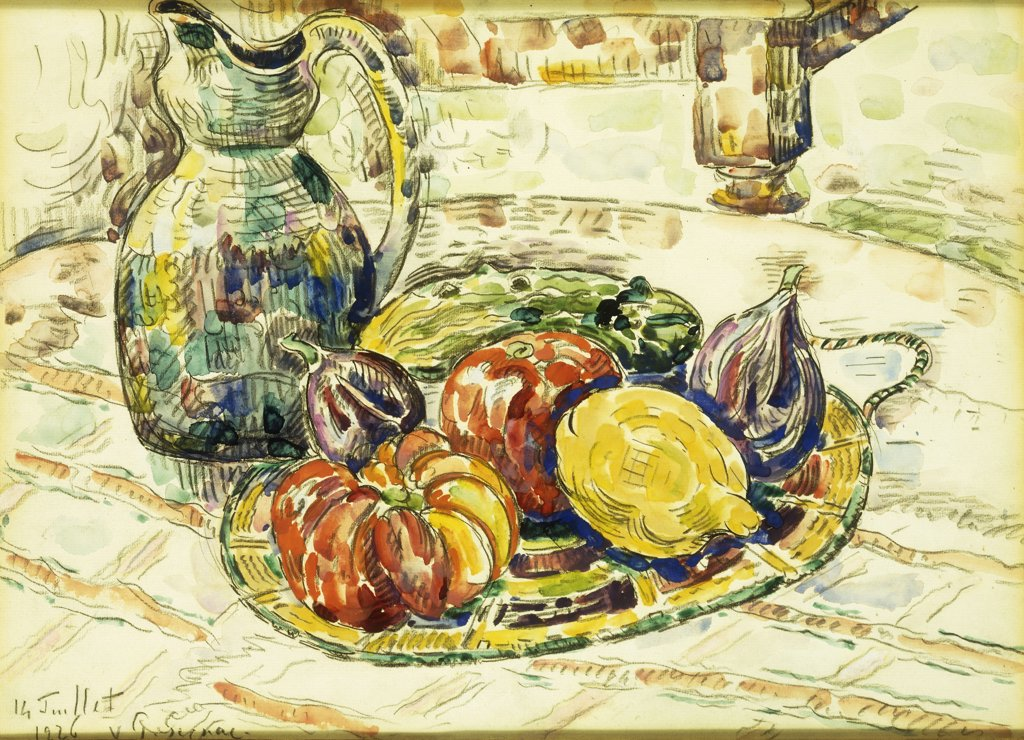 Still Life with Fruit. Nature Morte avec Fruits. Paul Signac (1863-1935). Watercolour over charcoal on paper.  Painted on July 14 1926. 31.7 x 43.8cm : Stock Photo