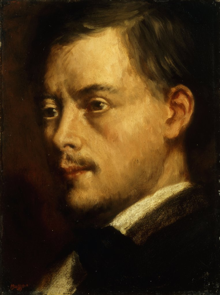 Head of a Man; Tete d'Homme. Edgar Degas (1834-1917). Oil on canvas laid on board. Painted c. 1864. 31.1 x 23.5cm : Stock Photo