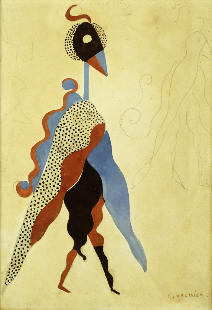 Stock Photo: 866-9259 Projet de Costume. Georges Valmier (1885-1937). Collage and gouache over pencil on paper laid on board. 26.1 x 19.2cm