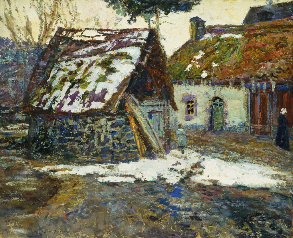 Stock Photo: 866-9260 Village en Hiver. Victor Charreton (1864-1937). Oil on board. 61 x 73.7cm