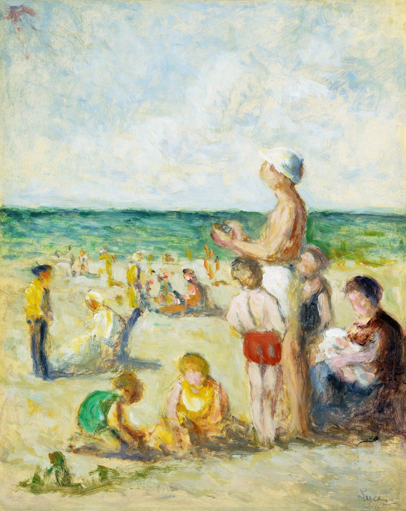 Stock Photo: 866-9261 Sur la Plage en Normandie.  Maximilien Luce (1858-1941). Oil on paper laid down on canvas. Painted  c.1930. 39.5 x 31.5cm