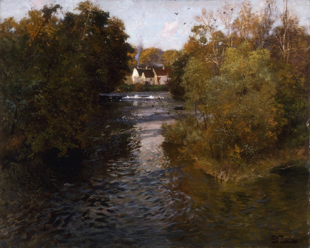 Stock Photo: 866-9279 A French River Landscape. Frits Thaulow (1847-1906). Oil on canvas. 64.8 x 81.3cm