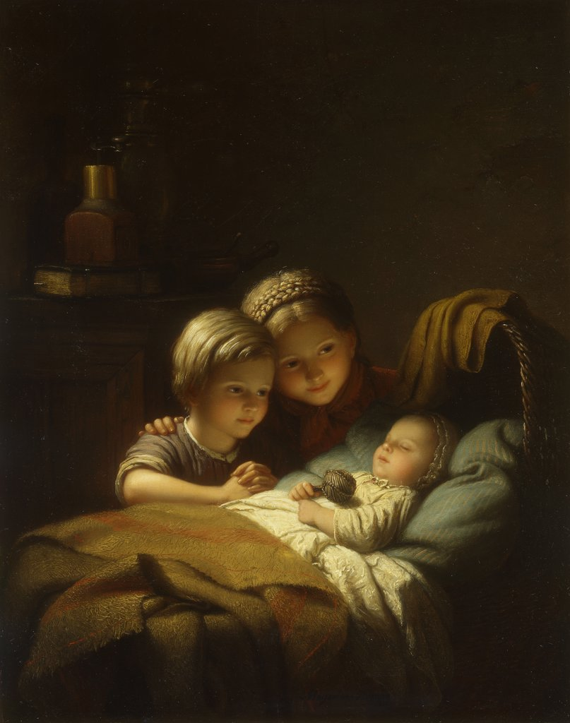 The Little Sleeping Brother; Le Petit Frere Dormant. Johan Georg Meyer (1813-1886). Oil on canvas. Signed and dated 1856. 45 x 35.8cm : Stock Photo