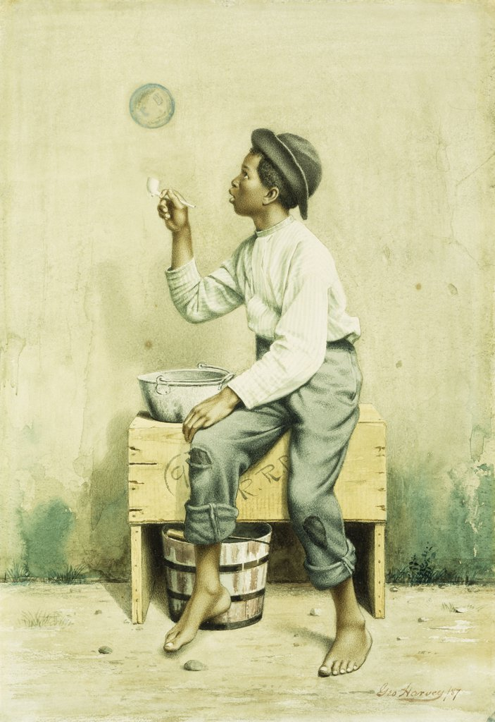 Stock Photo: 866-9289 Black Boy Blowing Bubbles. George Harvey (1835-1920). Watercolour and pencil on paper. Signed and dated 1887. 41.6 x 28.2cm