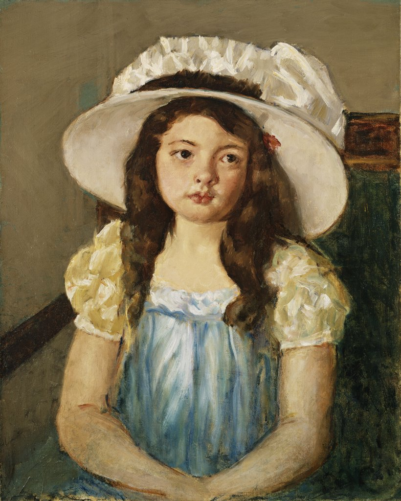 Stock Photo: 866-9332 Francoise Wearing a Big White Hat. Mary Cassatt (1845-1926). Oil on canvas. 62.2 50.2cm