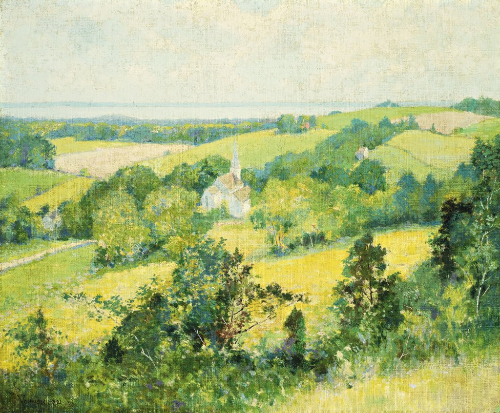 Stock Photo: 866-9339 New England Hills. Robert William Vonnoh (1858-1933). Oil on canvas laid on board, 1901. 49.3 x 59.3cm