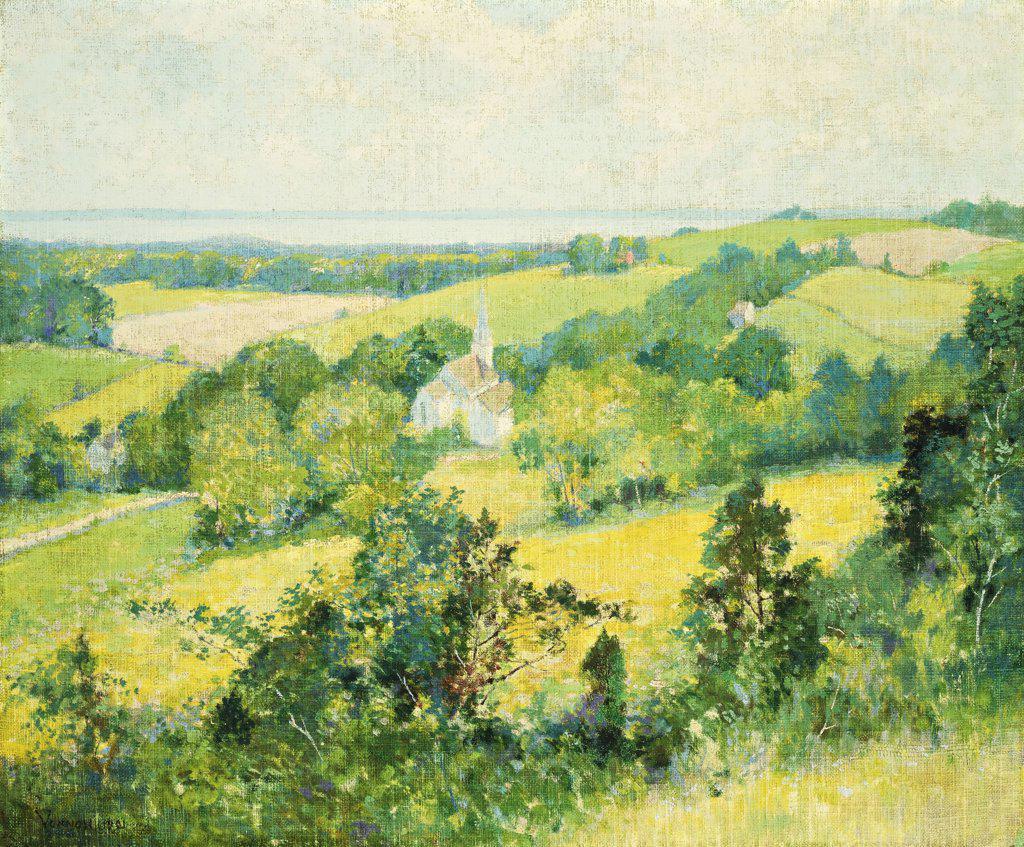 New England Hills. Robert William Vonnoh (1858-1933). Oil on canvas laid on board, 1901. 49.3 x 59.3cm : Stock Photo