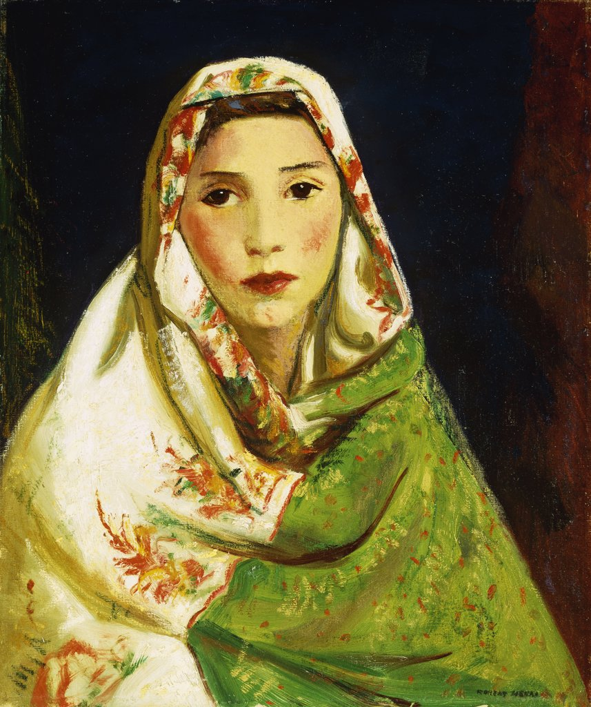 Mexican Girl with Oriental Scarf. Robert Henri (1865-1929). Oil on canvas. Painted in Santa Fe, New Mexico, in 1916. 60.9 x 50.8cm : Stock Photo