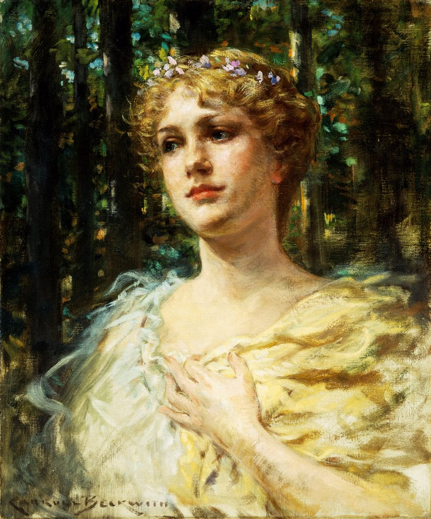 Stock Photo: 866-9361 Woodland Grace. James Carroll Beckwith (1852-1917). Oil on canvas. 61 x 51cm