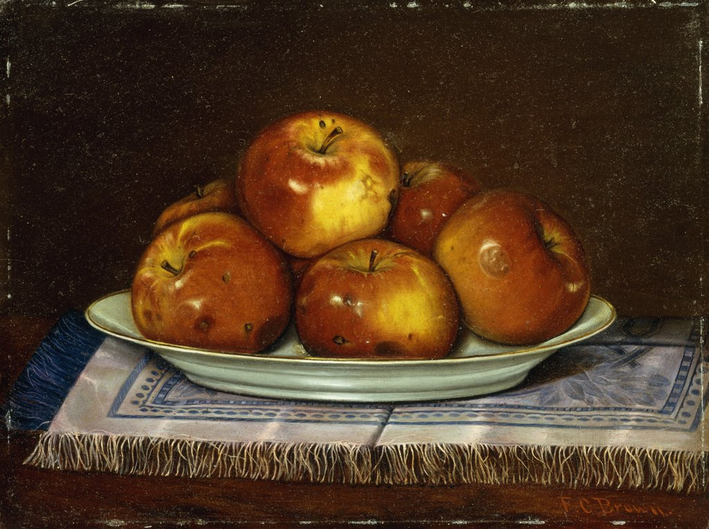 Stock Photo: 866-9386 End of the Harvest. Fred C. Brown. Oil on board. 22.8 x 30.5cm