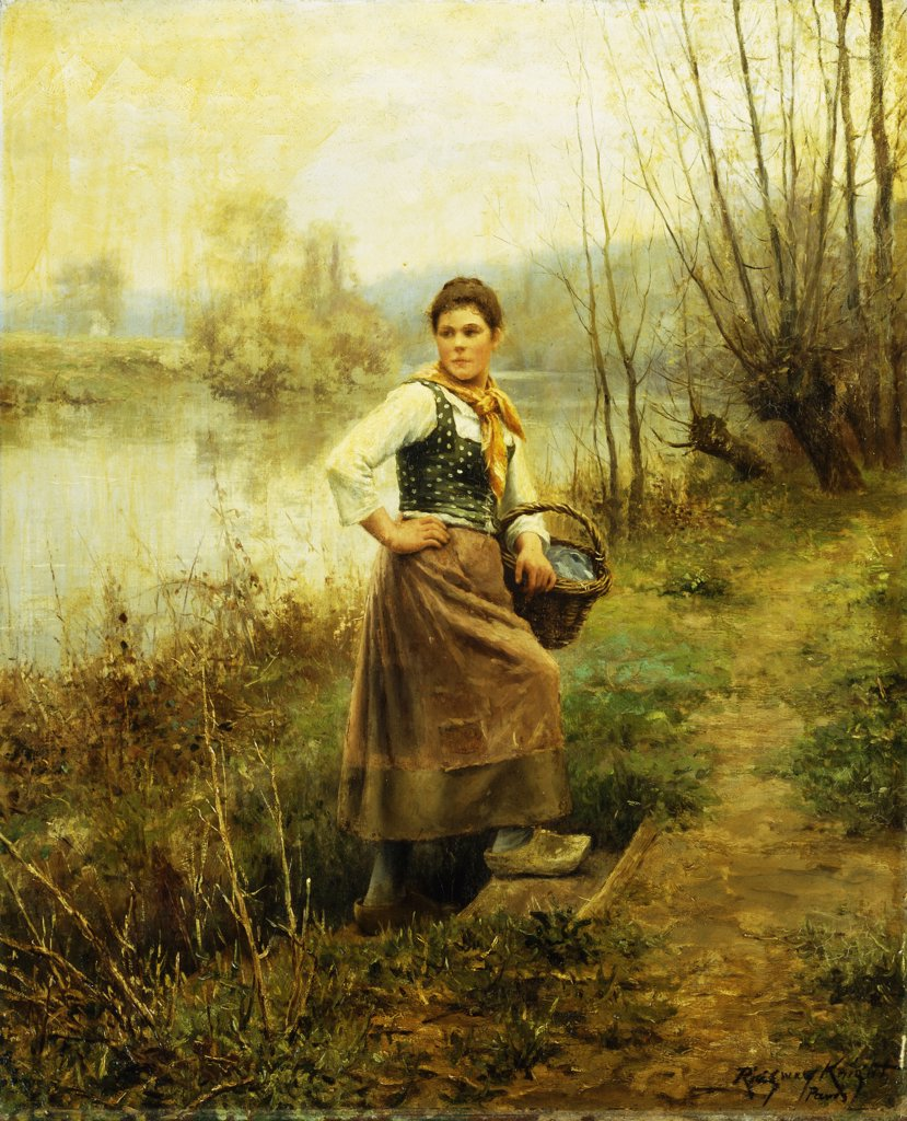 Country Girl. Daniel Ridgway Knight (1839-1924). Oil on canvas. 56.4 x 46.3cm : Stock Photo