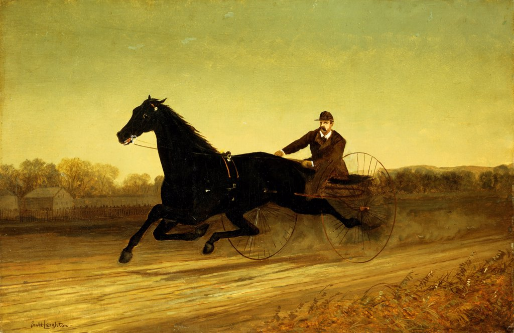 Stock Photo: 866-9403 The Racing Sulky. Nicholas Winfield Scott Leighton (1848-1898). Oil on canvas. 55.2 x 84.3cm