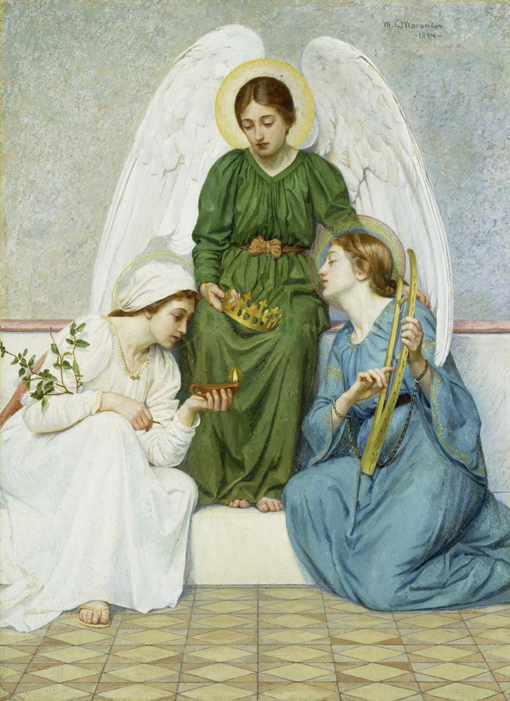 Faith, Hope and Love. Mary L. Macomber (1861-1916). Oil on canvas, 1894. 84 x 61cm : Stock Photo